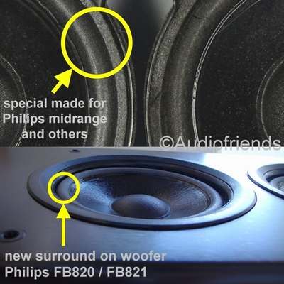 Repairkit foam surrounds for Philips FB820 / FB821 speakers