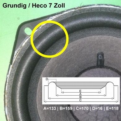 1 x Schaumstoff Sicke für Reparatur Grundig Hifi-Box 306M