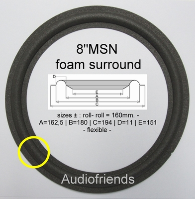 1 x Schaumstoff Sicke für AD80652/W8 (JAMO J-102)