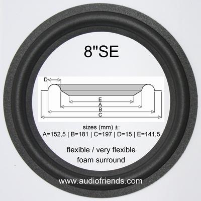 1 x 8 Zoll Schaumstoff Sicke für Dahlquist DQM-9 Compact