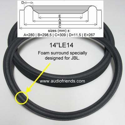1 x Foamrand voor reparatie JBL 14 inch LE14 - TI250