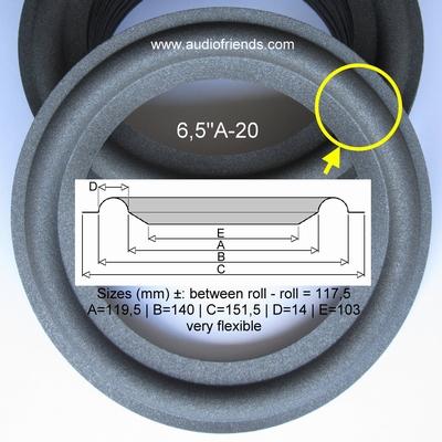1 x Schaumstoff Sicke fürReparatur FB330 - 70604/W8 speaker