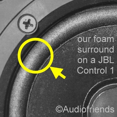 2 x Foam surrounds for repair JBL Control 1 + 1 x glue