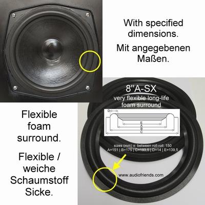 1 x Schaumstoff Sicke für Reparatur MB Quart QL SP3 speaker