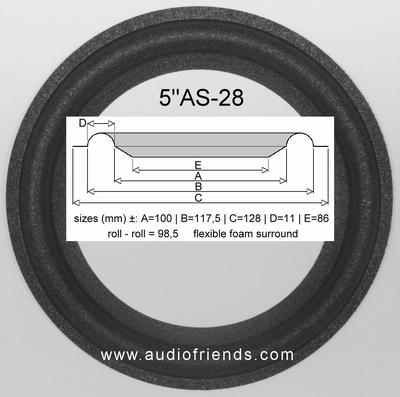 1 x Schaumstoff Sicke für Meyer speaker - ST85 - Flexibel