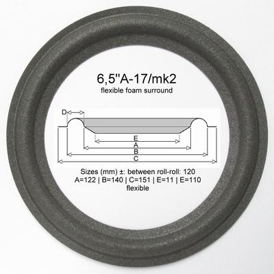 1 x Schaumstoff Sicke für Infinity Reference 6 - Mittel-Tief