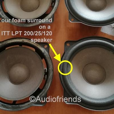 Repairset foam surrounds for ITT BR3-100 woofer