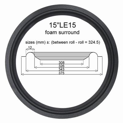 1 x JBL 15 inch LE15 Woofer Speaker Foamrand