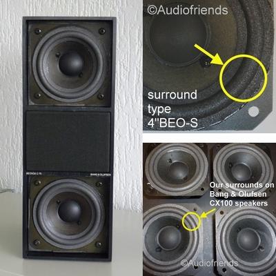 4 x Schaumstoff Sicken Bang & Olufsen CX100 Lautsprecher