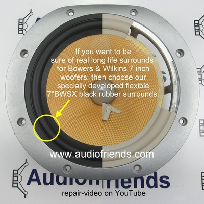 Bowers & Wilkins DM604S3 - 1 x RUBBER surround - 7 inch