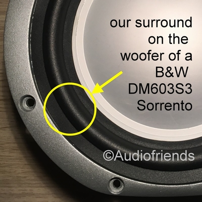 Bowers & Wilkens - 1 x RUBBER surround 6,5 inch woofer