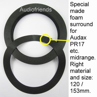 1 x Speciale foamring voor reparatie Audax PR17 midrange