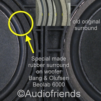 6 x RUBBER surrounds B&O Bang & Olufsen Beolab 6000/3500