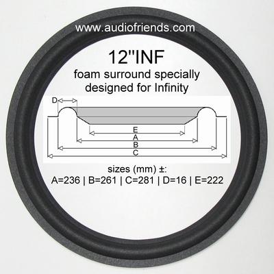 12 inch FOAM surround for speaker repair Infinity