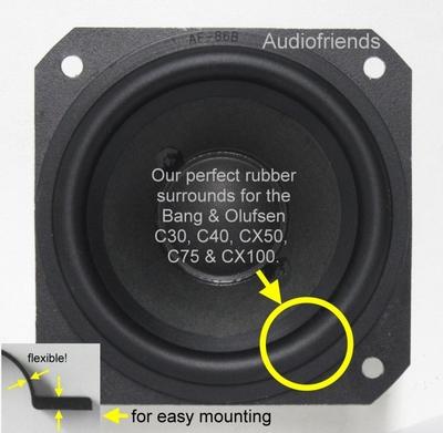 4 inch RUBBER surround for B&O CX50/CX100 repair
