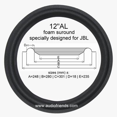 1 x 12 inch Foamrand voor JBL conus = ±245 - 248mm.