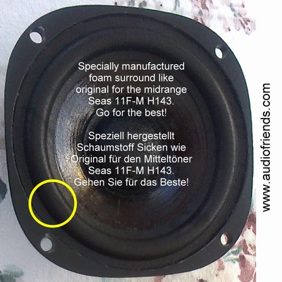 Seas 11F-M H143 - 1 x Foam surround for repair midrange