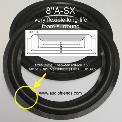 1 x Foam surround Acoustic Research 16, AR4ax, etc.