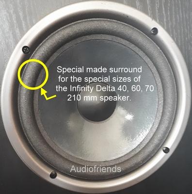 Infinity Delta 40, 50, 60, 70 - Reparaturset 4 x Bass 8 Zoll