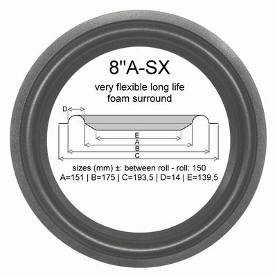 4 x 8 Zoll Schaumstoff Sicke für Audioton - Sehen Sie Maße: