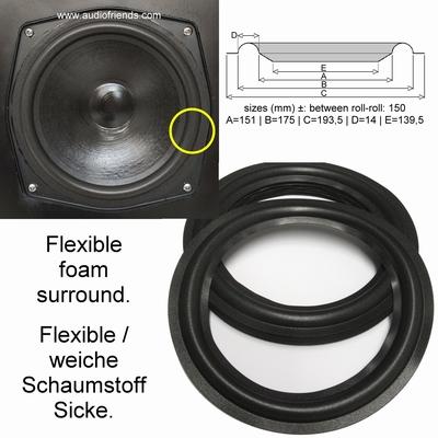 1 x Foam surround for repair 8 inch Interface Alfa