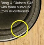 Bang & Olufsen S45 - 1x Foam surround for repair woofer
